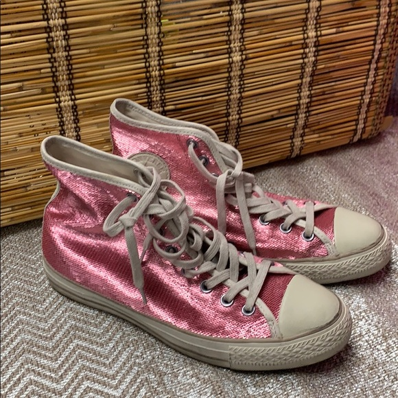 Pink Sequin Chuck Taylor High Tops